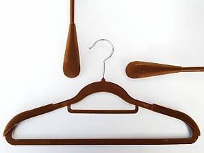 Длина 42 см. Плечики флокированные (бархатные) широкие с перекладиной, коричневого цвета
