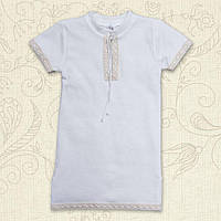 """Крестильная сорочка для мальчика """"Кристиан """" Размеры: 56, 62, 68, 74, 80, 86 (молочный с золотом)"""