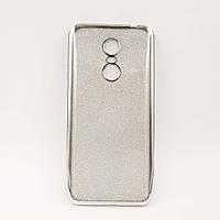 Чехол накладка для Xiaomi Redmi 5 Plus силиконовый, Remax Case GLITTER, Серебристый