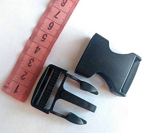 Пряжка фастекс, пластик черный 25 мм