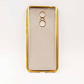 Чехол накладка для Xiaomi Redmi 5 Plus силиконовый, Remax Case GLITTER, Золотистый