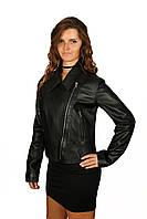 Женская кожаная куртка косуха, черная