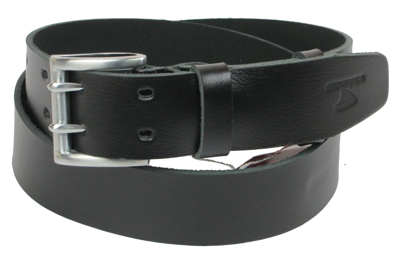 Мужской кожаный ремень под джинсы Skipper 1161-45 черный ДхШ: 131х4,5 см.