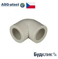 Полипропиленовый угол Ø25х90° ASG-Plast (Чехия)
