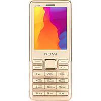 Телефон кнопочный с металлической вставкой на 2 сим карты Nomi i241+ Metal золотой