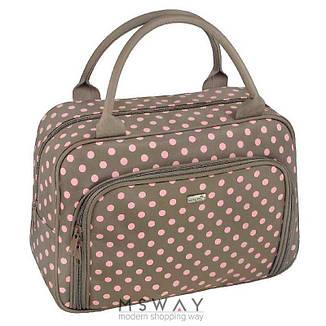 Reed - Косметичка 7838 Lollipop бежевая розовая горох,чемодан ручки  большая  28х13,5х22 см, фото 2