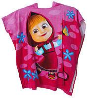 Детское пляжное полотенце-пончо с капюшоном Маша