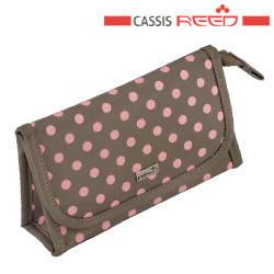 Reed - Косметичка 7842 Lollipop бежевая розовая горох,прямоугольная плоская зеркало маленькая  16,5х4,5x9,5см, фото 2