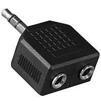 Переходник штекер Lesko 3.5mm папа / 2 x 3.5mm мама двойной для компьютера ноутбука телефона планшета