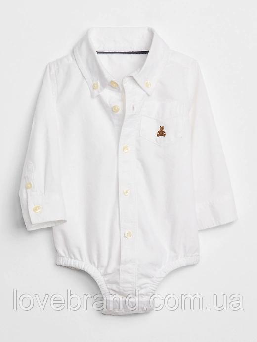 Рубашка боди Oxford Gap для мальчика белый, нарядная рубашка для новорожденного 3-6 мес/58-68 см