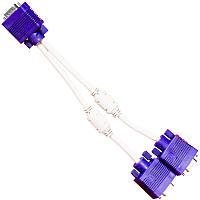 Двойной переходник Lesko VGA mother / 2xVGA father разветвитель для подключения монитора к видеокарте