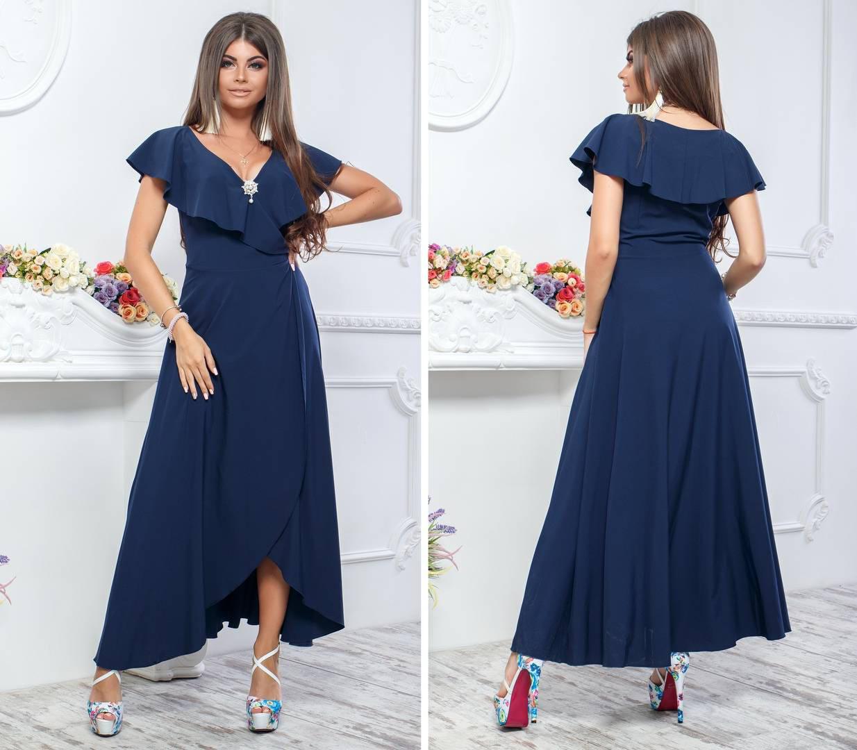 Платье летнее длинное, модель 111, цвет - темно синий