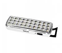 LED Светильник аварийный аккумуляторный DELUX REL-501 (3.7V1,2Ah) 30 LED 2W 202x68x40