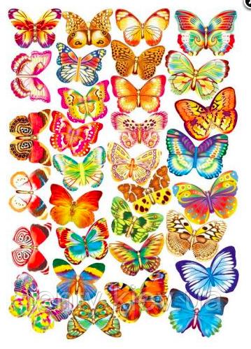 Набор бабочек на двухстороннем скотче 32 шт./уп. (глиттер+золото) - большая упаковка