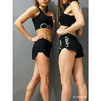 2 в 1- МАЙКА (топ) + ШОРТЫ - Calvin Klein СК (Кельвин) женский СПОРТИВНЫЙ комплект, костюм-двойка,ХЛОПОК