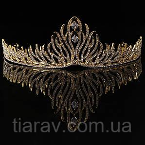 Тиара свадебная, ОЛИВЕР, золотая диадема для волос