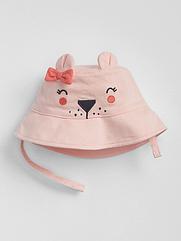 Панамка GAP для девочки на липучку с ушками розовая 18-24 мес/51 см