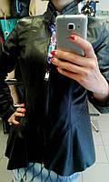 Черная куртка с баской, на молнии, фото 1