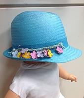 Шляпа для девочки летняя итальянская с мелкими украшениями в виде шнурка с цветочками