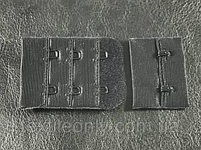 Застежка для бюстгальтера на 2 крючка 3 ряда петель цвет черный55х38 мм
