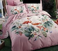 Постельное белье сатин евро 40 Prestij Textile 92632 фламинго, фото 1
