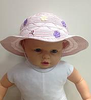 Шляпа для девочки летняя однотонная с цветочками и бабочками