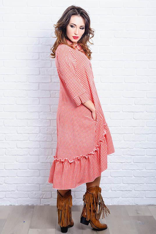 Красное платье батальное Флора до р. 60