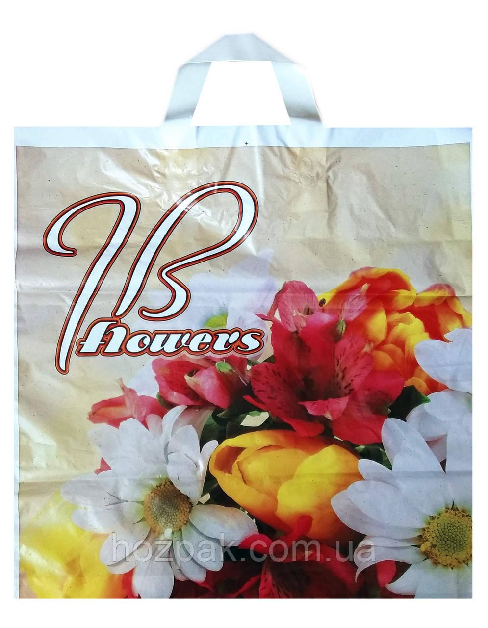 """Пакет щільний з петлевою ручкою """"Квіти"""" 38х39 див. 25шт."""