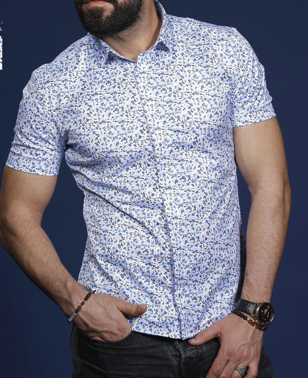 Шикарная  рубашка для мужчин на короткий рукав, фото 1