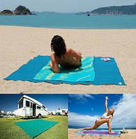 Пляжное покрывало анти песок 200*200 см голубой