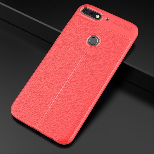 чохол накладка на Huawei Honor 7C PRO червона фактура шкіри