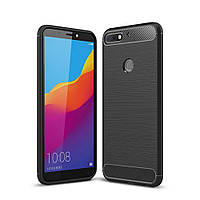 Чехол накладка для Huawei Honor 7C PRO LND-L29 силиконовый, Carbon Fiber, черный