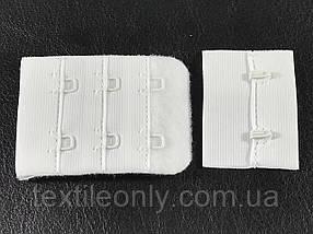 Застежка для бюстгальтера на 2 крючка 3 ряда петель цвет белый 55х38 мм