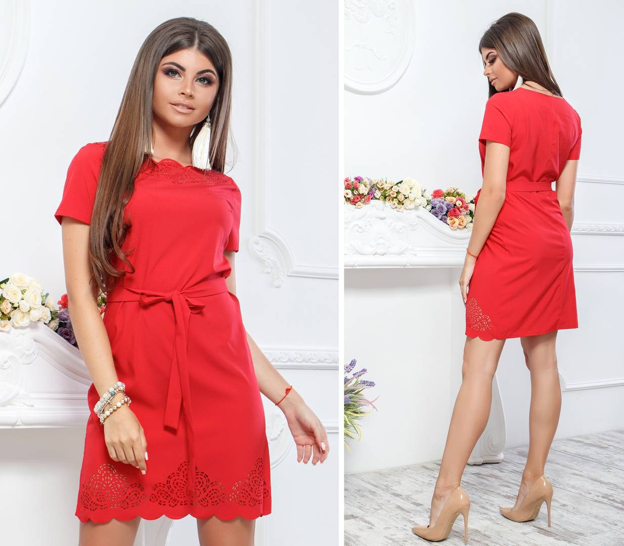 Плаття літнє з вибитим малюнком, модель 109, колір - червоний