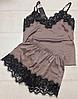 Женская шелковая пижама капучино 002