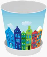 """Горшок для цветов с подставкой """"Деко"""", с декором Амстердам, 16*15,5, 1,8 л, Украина"""