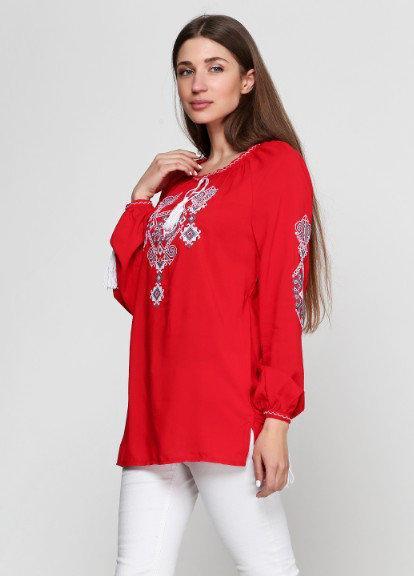 Вышитая женская блузка Ганна с длинным рукавом красного цвета