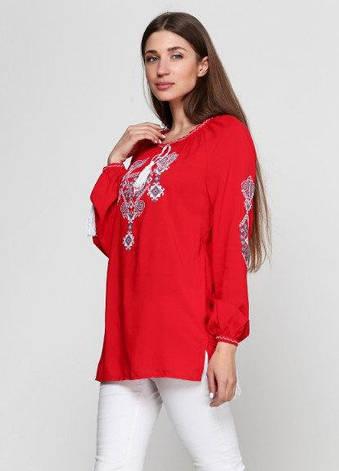 Вышитая женская блузка Ганна с длинным рукавом красного цвета, фото 2