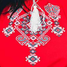 Вышитая женская блузка Ганна с длинным рукавом красного цвета, фото 3
