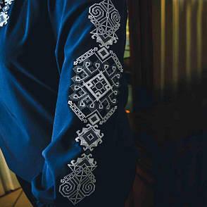 Вышитая женская блузка Ганна с длинным рукавом темно синего цвета, фото 2