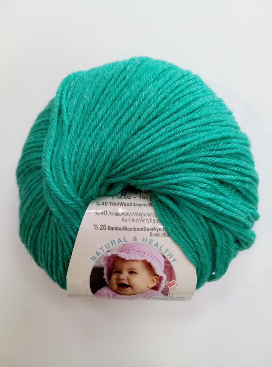 Пряжа для вязания Беби вулл ALIZE сочная мята 610