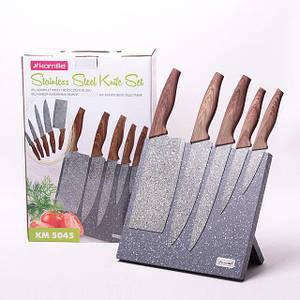 Набор ножей 6 предметов  с нержавеющей стали на підставці з мармуровим покриттям (5 ножей+подставка)