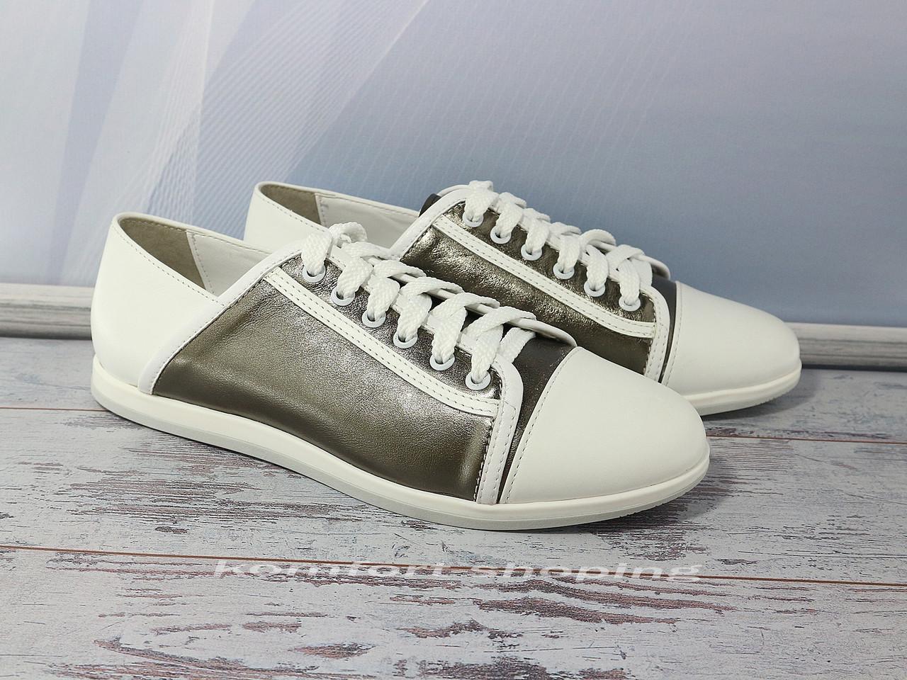 Женские кожаные кроссовки на шнуровке , бело-серые  V 1192