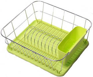 Сушарка для посуды  37*33*13,5см.хромированая сталь. С поддоном