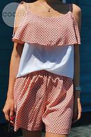 Летний молодежный костюм в горошек, фото 1