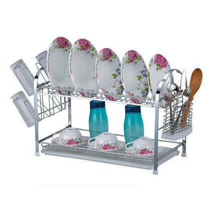 Сушарка для посуды  двохрусная 64(54)*25*38смхромированая сталь. С поддоном, фото 2