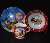 """Набор детской посуды 3 предмета """"Маша и медведь"""""""