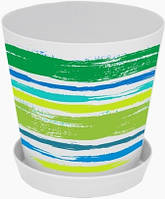 """Горшок для цветов с подставкой """"Деко"""", с декором """"Краски: зеленые"""", 16*15,5, 1,8 л, Украина"""