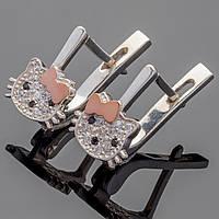 """Детские серебряные серьги с золотыми вставками """"Hello Kitty"""""""