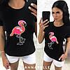 Женская футболка с нашивкой Фламинго, вискоза, 42-46,серый, черный, белый